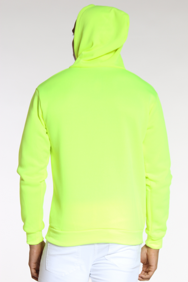 Men's Neon Pull Over Hoodie - Yellow