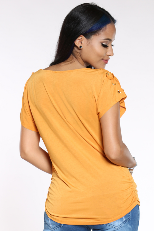 Women's Criss Cross Shoulder Top - Mustard