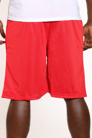 Men's Solid Heavy Mesh Short - Red