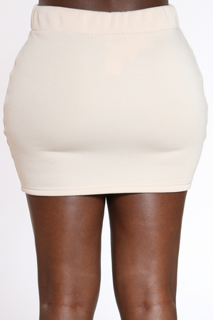 Women's Solid Fleece Skirt - Beige