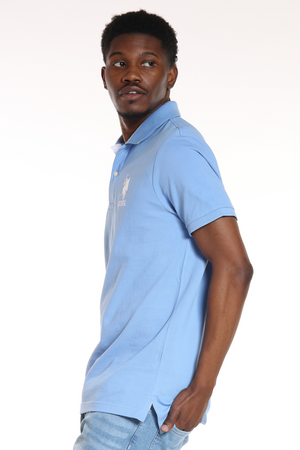 Men's Us Polo Slim Fit Striped Collar Shirt - Blue White