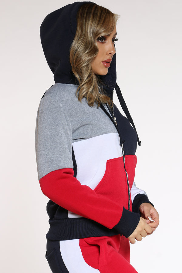 Women's Color Block Full Zip Hoodie - Red Black White