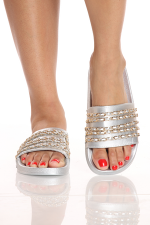 Women's One Band Chain Slide - Silver