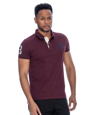 U.S. POLO ASSN. Us Polo Slim Fit Stripe Collar Shirt - Dark Burgundy - Vim.com