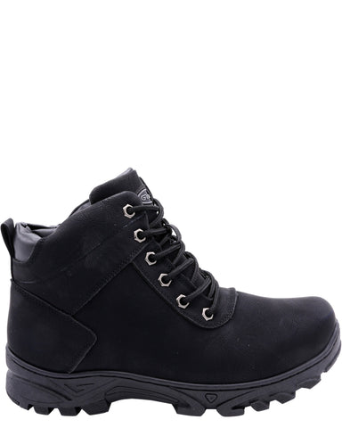 VIM Men'S Plain Toe Fur Boots - Black - Vim.com