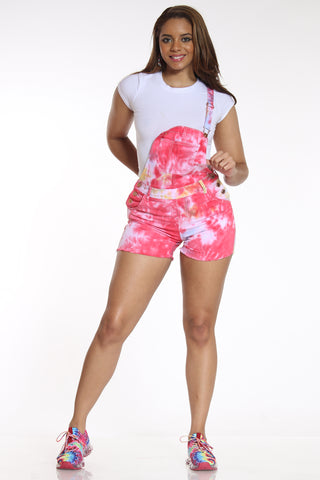 Women's Tie Dye Short Overalls - Red Orange-VIM.COM