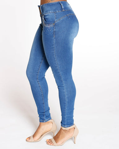 VIM VIXEN Three Button Front Rhinestone Colombian Jean - Medium Denim - ShopVimVixen.com
