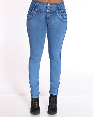 Women's Rivet Tush Push Jean - Acid Blue