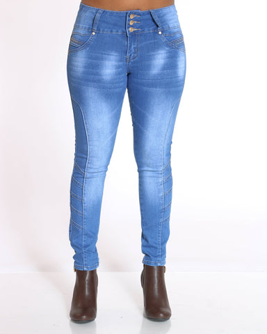Women's 3 Button Ankle Length Rhinestone Jean - Medium Blue
