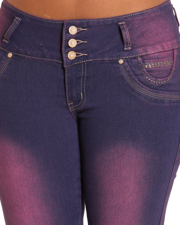 Women's 3 Button Blasting Embroidered Back Pocket Jean - Burgundy