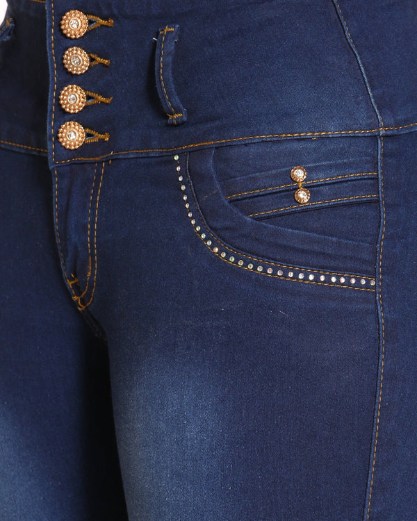 Women's 4 Button Rhinestone Back Pocket Jean - Dark Blue