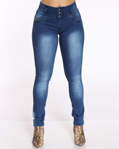 Women's 3 Button Rhinestone Jean - Blue