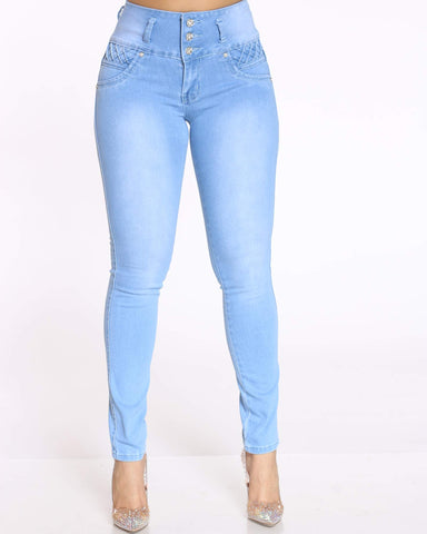 Women's 3 Button Braided Rhinestone Jean - Light Blue