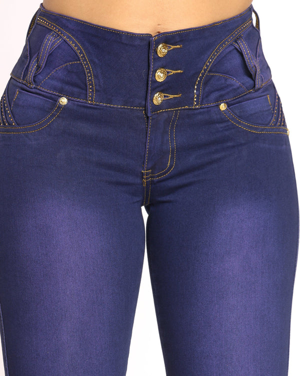 Women's 3 Button Rhinestone Jean - Purple
