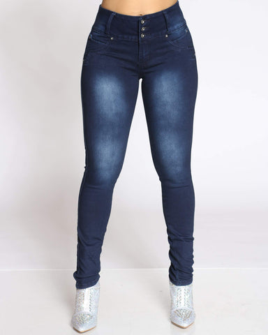 Women's 3 Button Blasting Jean - Blue Black