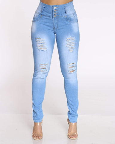 Women's Sarahi 4 Button Ripped Jean - Light Blue