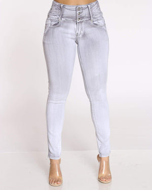 Women's 3 Button Tush Push Jean - Grey-VIM.COM