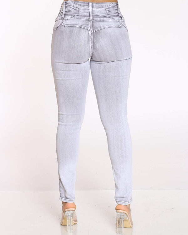 Women's 3 Button Tush Push Jean - Grey