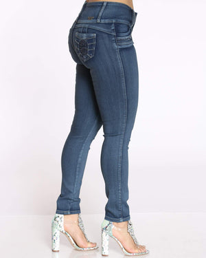 Women's 3 Button Rhinestone Trim Jean - Charcoal-VIM.COM