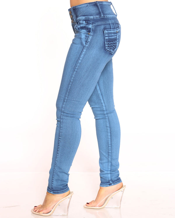 Women's 3 Button Braided Jean - Medium Blue
