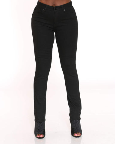 Women's Push Up Straight Leg Jean - Black