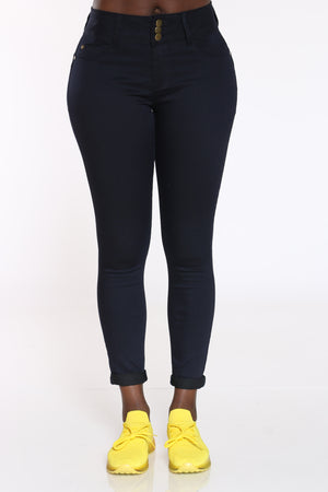 Women's Twill Roll Cuff Curvy Fit Jean - Navy-VIM.COM