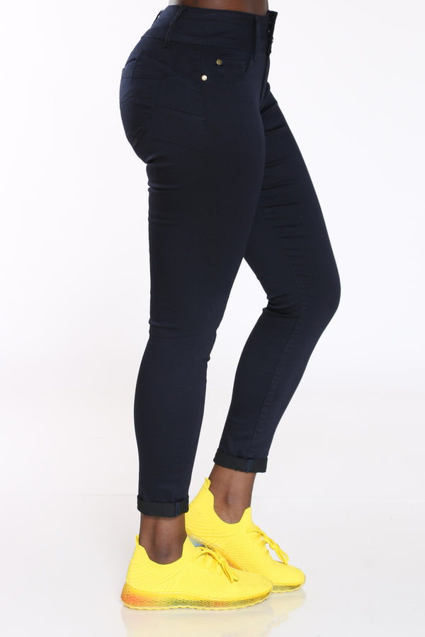 Women's Twill Roll Cuff Curvy Fit Jean - Navy