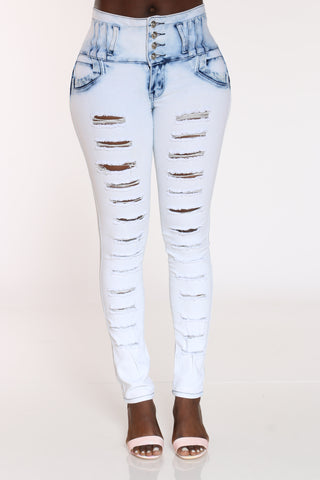 Women's Rhinestone Ripped Tush Push Jean - Light Bleach-VIM.COM