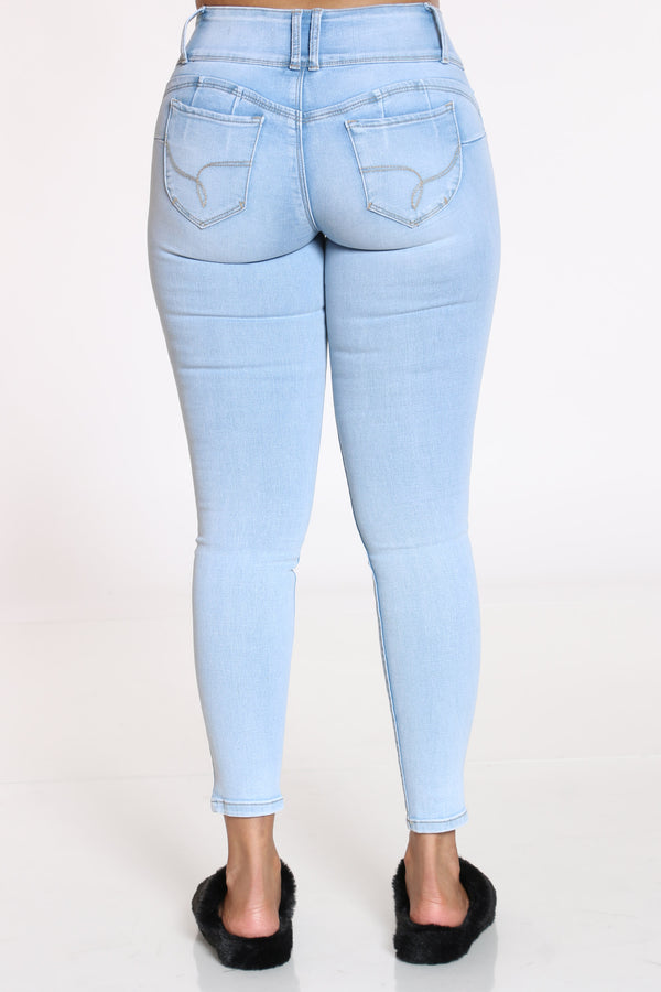 Women's 3 Button Ripped Push Up Jean - Light Blue