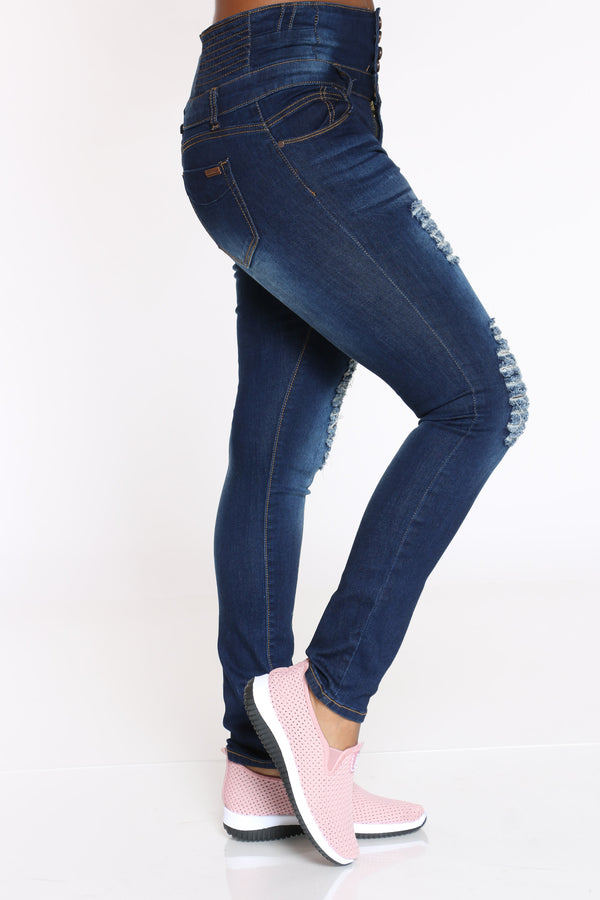 Women's Ripped Push Up Skinny Jean - Dark Blue