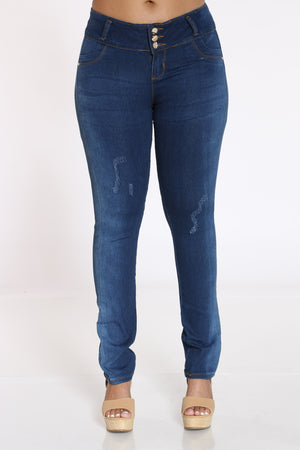 Women's 3 Button Ripped Push Up Jean - Blue-VIM.COM