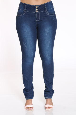 Women's 3 Button Light Ripped Jean - Blue-VIM.COM