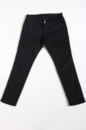 Women's 3 Button Embroidered Pocket Jean - Black-VIM.COM