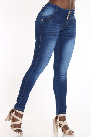 Women's 4 Button Rhinestone Back Pocket Jean - Dark Blue-VIM.COM