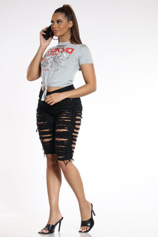 Women's Heavy Ripped Bermuda - Black-VIM.COM