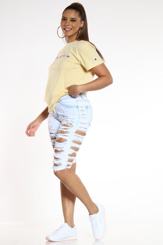 Women's Heavy Ripped Bermuda Short - Light Blue-VIM.COM