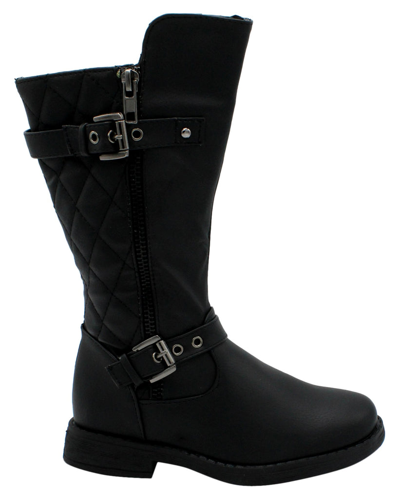 VIM Girl'S Silver Buckle Boot With Quilted Style Boot (Pre School/Grade School) - Black - Vim.com