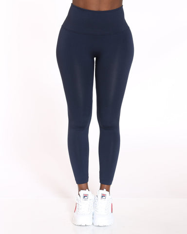 VIM VIXEN Emily High Waist Fleece Lined Legging - Navy - ShopVimVixen.com