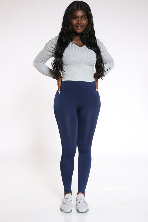Women's Fleece Lined Legging - Navy-VIM.COM