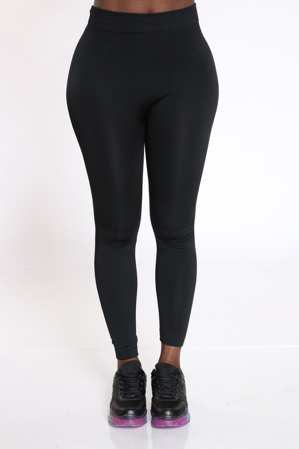 Women's Fleece Lined Legging - Black-VIM.COM