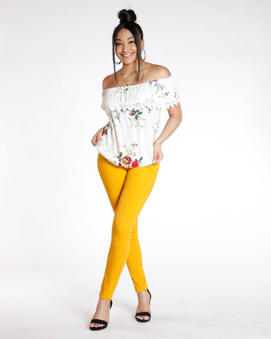 Destiny Apparel Must Have Classic Stretch Twill Pant - Mustard - ShopVimVixen.com