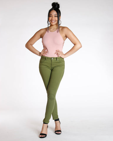 Destiny Apparel Must Have Classic Stretch Twill Pant - Olive - ShopVimVixen.com