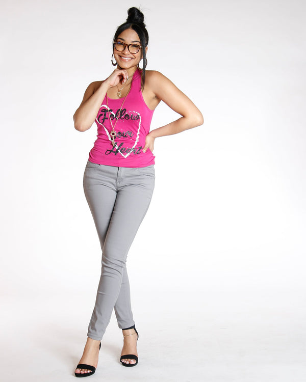 Destiny Apparel Must Have Classic Stretch Twill Pant - Grey - ShopVimVixen.com