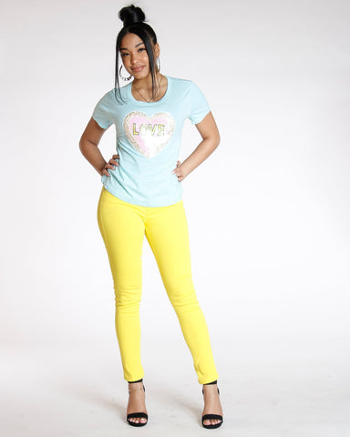 Destiny Apparel Must Have Classic Stretch Twill Pant - Yellow - ShopVimVixen.com