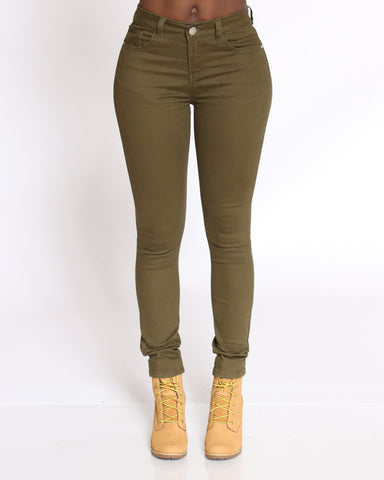 VIM VIXEN Emerald 5 Pocket Stretch Pant - Olive - ShopVimVixen.com