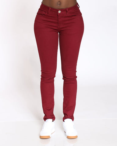 VIM VIXEN Emerald 5 Pocket Stretch Pant - Burgundy - ShopVimVixen.com
