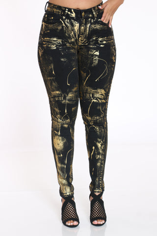Women's Foil Denim Jean - Black Gold-VIM.COM