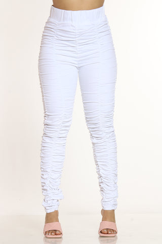 I'm Ready Rouched Denim Jean - White-VIM.COM