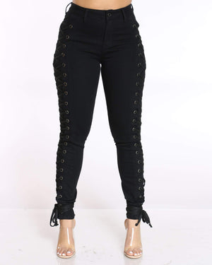 Women's Courtney Side Lace Up Jean - Black