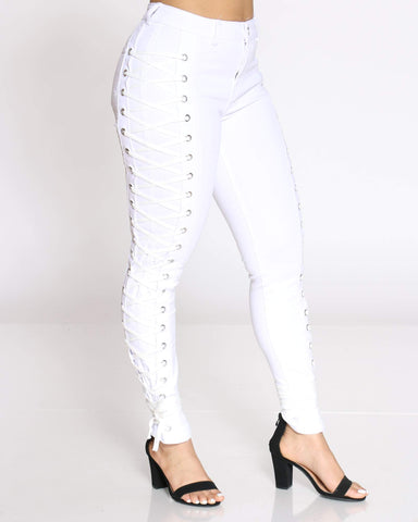 Women's Courtney Side Lace Up Jean - White-VIM.COM